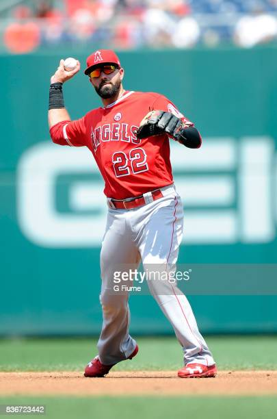 Kaleb Cowart of the Los Angeles Angels throws the ball to first base against the Washington Nationals at Nationals Park on August 16 2017 in...