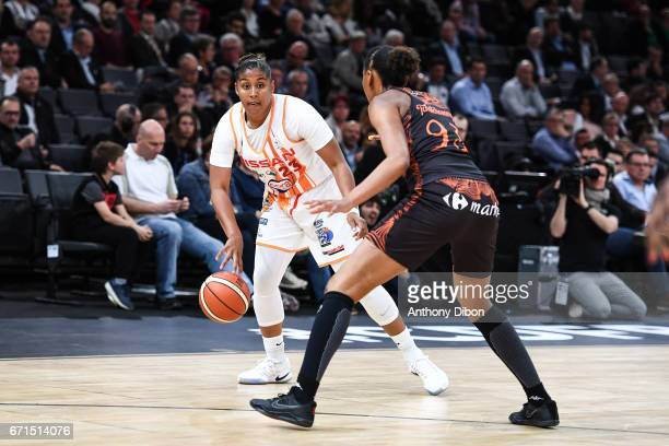 Kaleena Lewis of Charleville Mezieres during the women's Final of the French Cup between Charleville Mezieres and Bourges Basket at AccorHotels Arena...