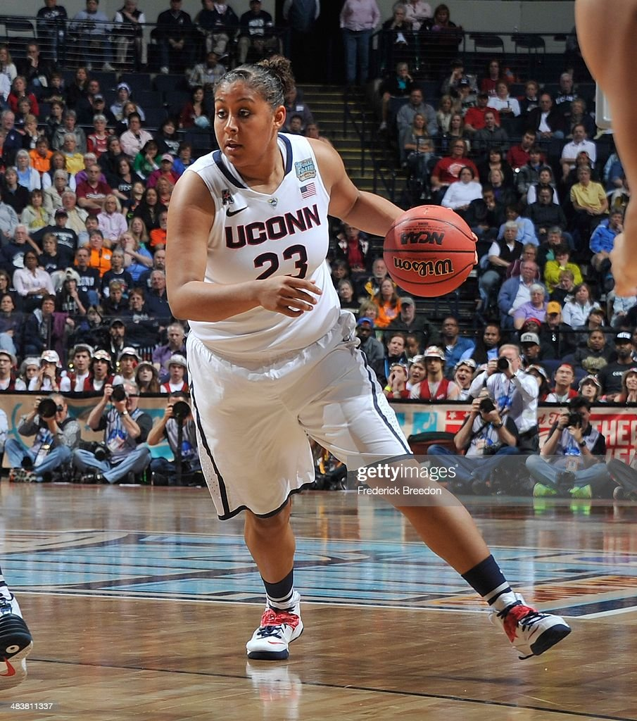 Kaleena Mosqueda #23 of the Connecticut Huskies plays against the Stanford Cardinal at Bridgestone Arena on April 6, 2014 in Nashville, Tennessee.