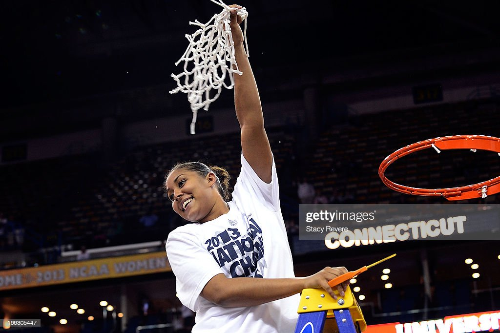 Kaleena Mosqueda-Lewis #23 of the Connecticut Huskies, cuts down the net following a victory over the Louisville Cardinals in the National Final game of the 2013 NCAA Division I Women's Basketball Championship at New Orleans Arena on April 9, 2013 in New Orleans, Louisiana.