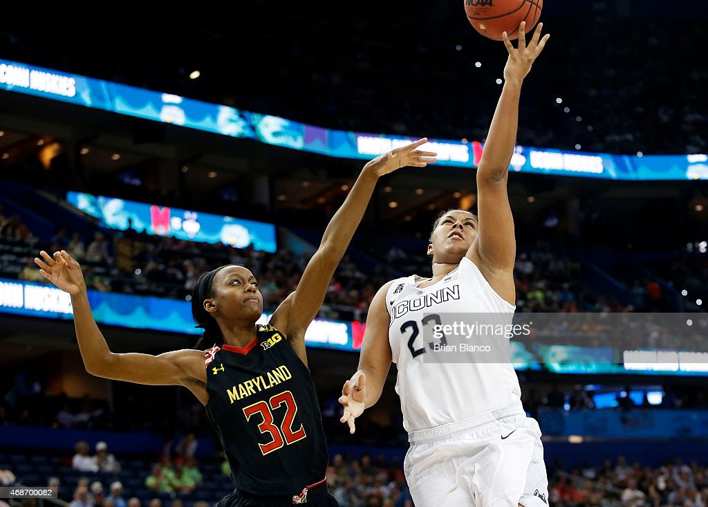 Kaleena Mosqueda-Lewis #23 of the Connecticut Huskies shoots against Shatori Walker-Kimbrough #32 of the Maryland Terrapins in the second half during the NCAA Women's Final Four Semifinal at Amalie Arena on April 5, 2015 in Tampa, Florida.