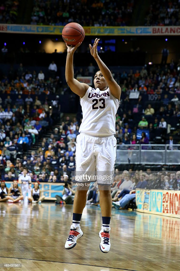 Kaleena Mosqueda-Lewis #23 of the Connecticut Huskies shoots the ball against the Notre Dame Fighting Irish in the first half during the NCAA Women's Final Four Championship at Bridgestone Arena on April 8, 2014 in Nashville, Tennessee.