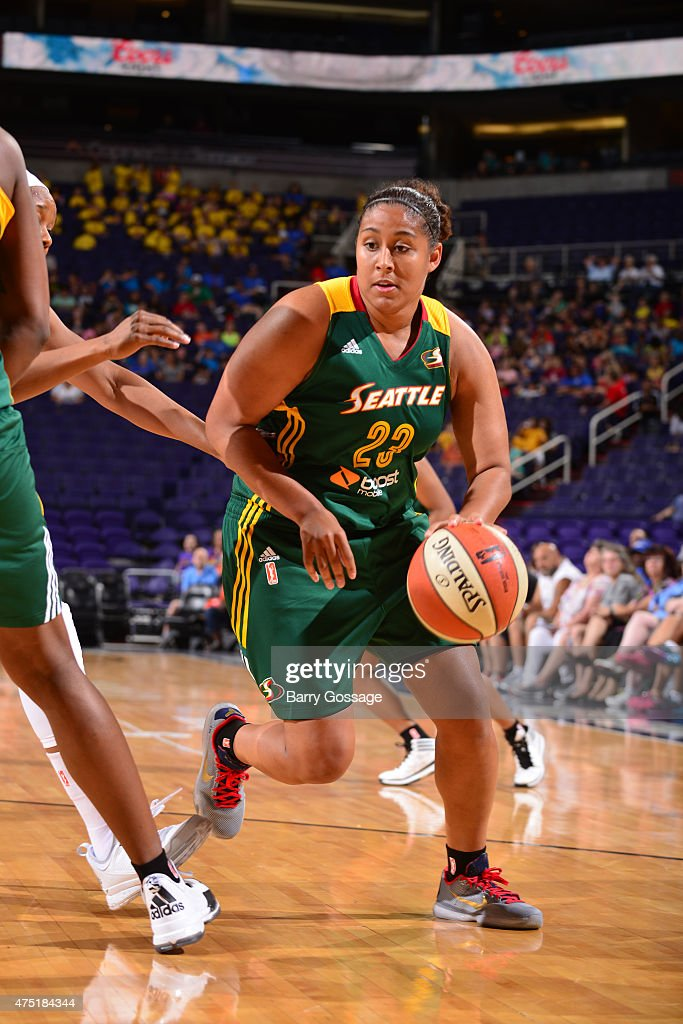Kaleena Mosqueda-Lewis #23 of the Seattle Storm drives to the basket against the Phoenix Mercury on May 28, 2015 at Talking Stick Resort Arena in Phoenix, Arizona.