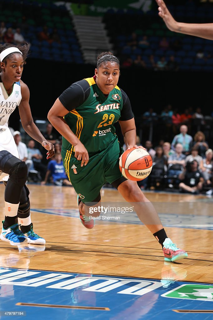 Kaleena Mosqueda-Lewis #23 of the Seattle Storm drives to the basket against the Minnesota Lynx on July 3, 2015 at Target Center in Minneapolis, Minnesota.