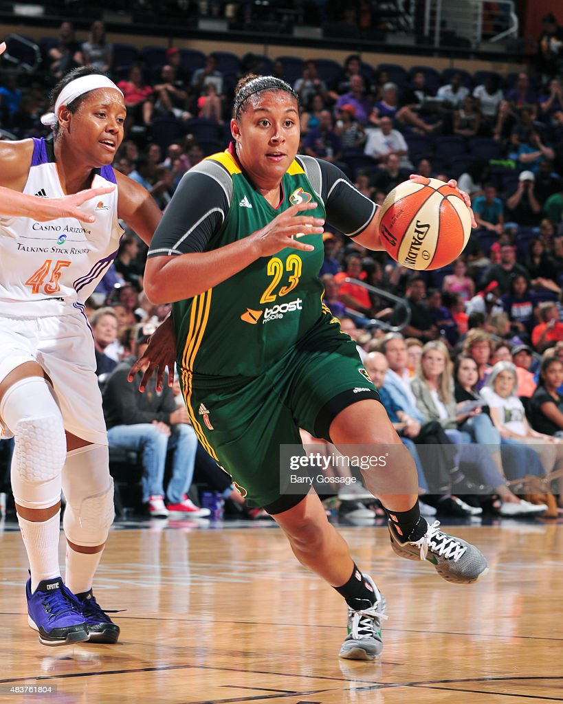 Kaleena Mosqueda-Lewis #23 of the Seattle Storm handles the ball against the Phoenix Mercury on August 12, 2015 at Talking Stick Resort Arena in Phoenix, Arizona.