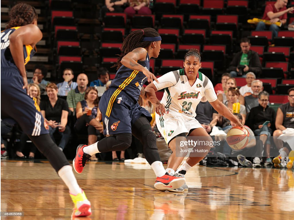 Kaleena Mosqueda-Lewis #23 of the Seattle Storm handles the ball against the Indiana Fever on August 21, 2015 at Key Arena in Seattle, Washington.