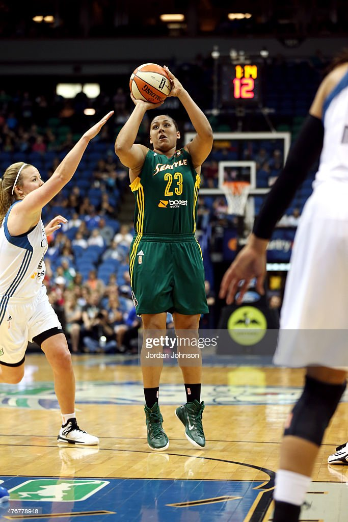 Kaleena Mosqueda-Lewis #23 of the Seattle Storm shoots against the Minnesota Lynx during the WNBA game on June 11, 2015 at Target Center in Minneapolis, Minnesota.