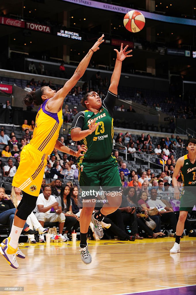 Kaleena Mosqueda-Lewis #23 of the Seattle Storm takes a shot against the Los Angeles Sparks on August 11, 2015 at STAPLES Center in Los Angeles, California.