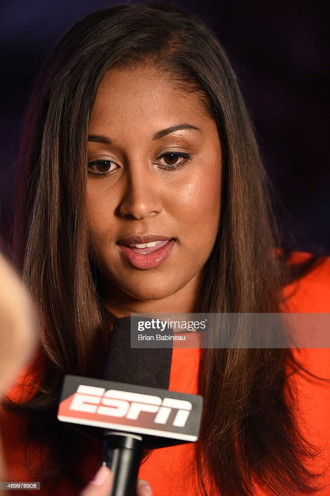 Kaleena Mosqueda-Lewis speaks with ESPN during the 2015 WNBA Draft Presented By State Farm on April 16, 2015 at Mohegan Sun Arena in Uncasville, Connecticut.
