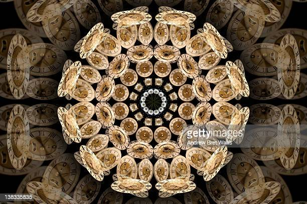 Kaleidoscope made of clock faces and dandelions