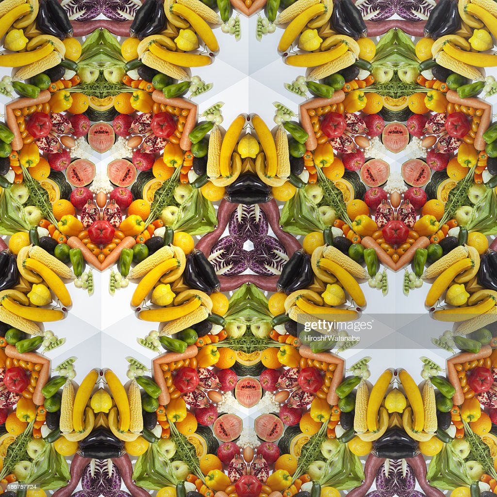Kaleidoscope of colorful vegetables and fruits