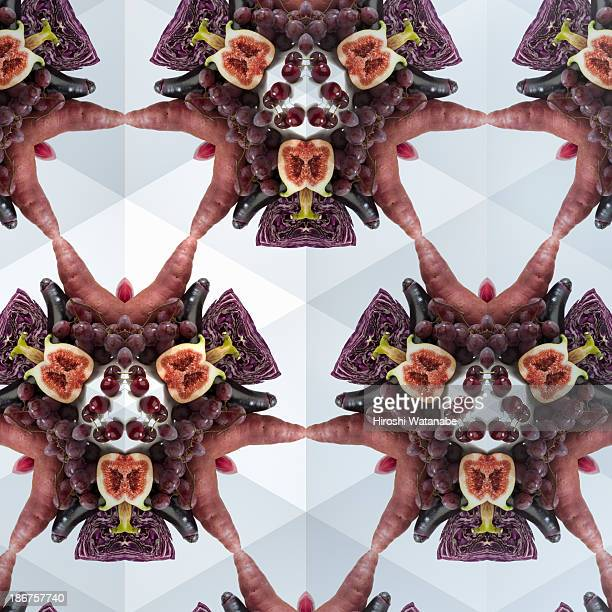 Kaleidoscope of purple vegetables and fruits