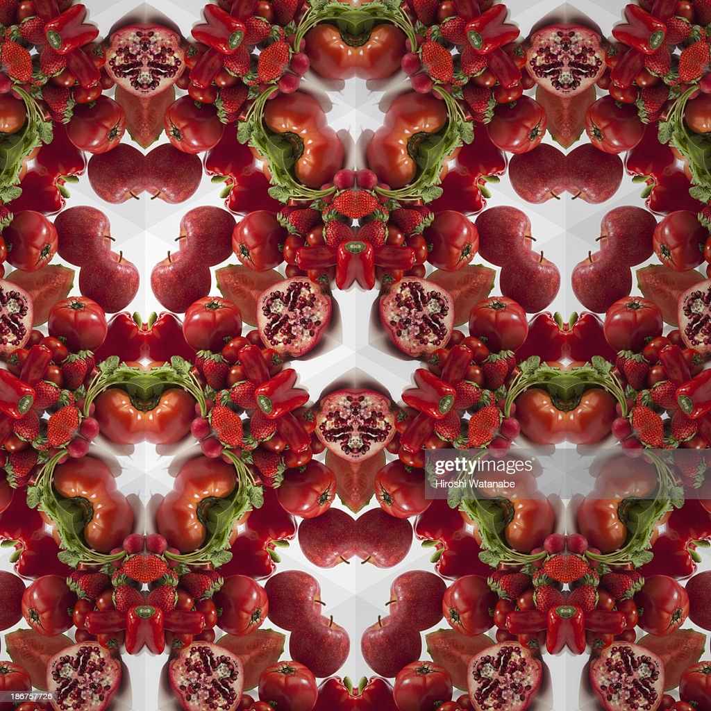 Kaleidoscope of red vegetables and fruits