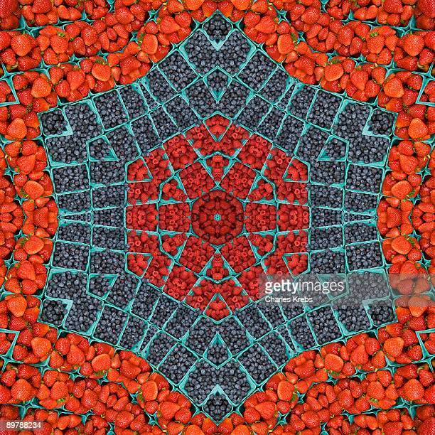 Kaleidoscope of strawberries and blueberries