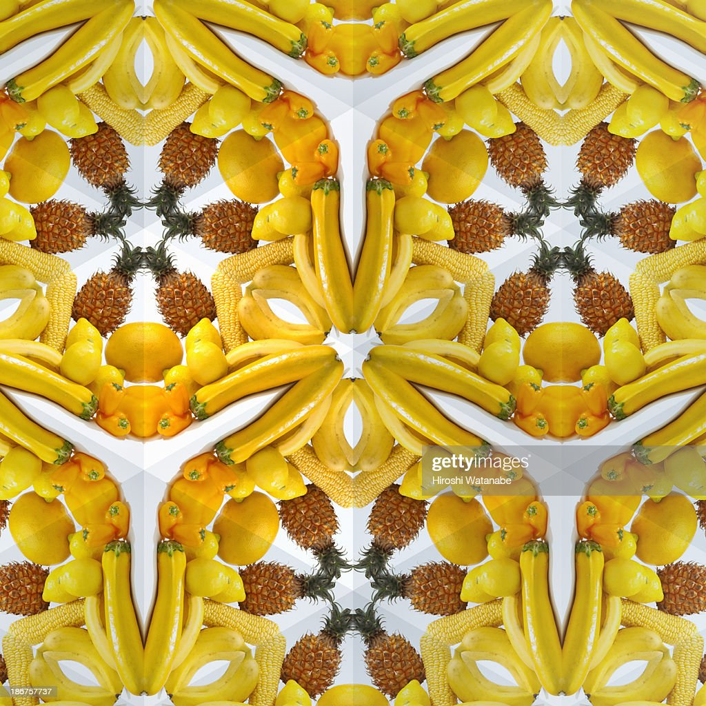 kaleidoscope of yellow vegetables and fruits stock photo getty