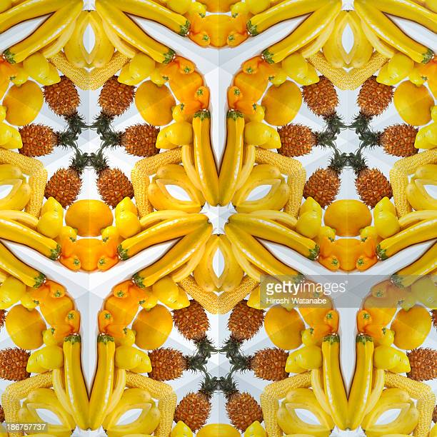 Kaleidoscope of yellow vegetables and fruits