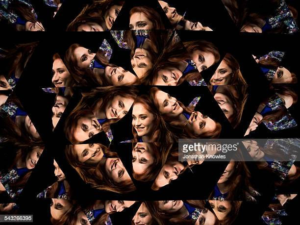 Kaleidoscope portraits of female with long hair