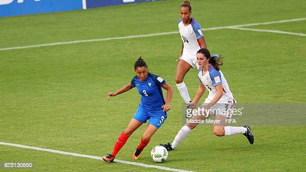 Kaleigh Riehl of United States defends Sakina Karchaoui of France in the second half of the Group C match of the FIFA U20 Women's World Cup Papua New...
