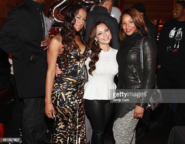 Kaleila Pufolkes Adrienne Bosh and Savannah Brinson celebrate Michael Beasley's 25th birthday celebration at The General on January 7 2014 in New...