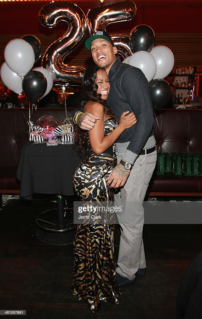 Kaleila Pufolkes and Michael Beasley celebrate his 25th birthday at The General on January 7, 2014 in New York City.