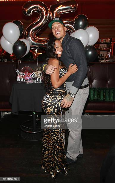 Kaleila Pufolkes and Michael Beasley celebrate his 25th birthday at The General on January 7 2014 in New York City