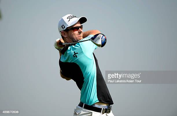 Kalem Richardson of Australia plays a shot during round two of the King's Cup at Singha Park Khon Kaen Golf Club on November 28 2014 in Khon Kaen...