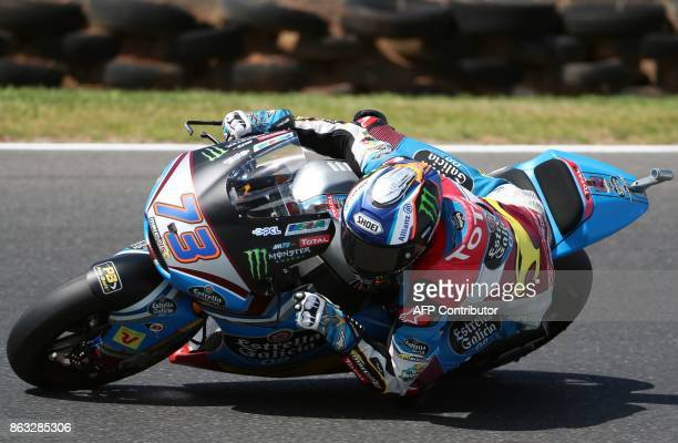 Kalex rider Alex Marquez of Spain powers his machine during the Moto2 class first practice session of the Australian MotoGP Grand Prix at Phillip...