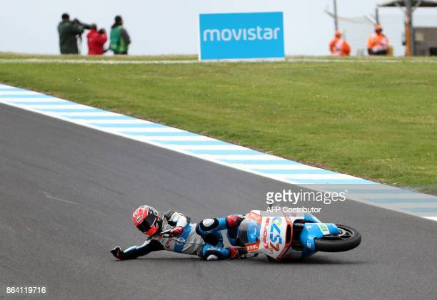 Kalex rider Edgar Pons of Spain crashes during the Moto2class third practice session of the Australian MotoGP Grand Prix at Phillip Island on October...