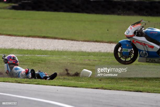Kalex rider Fabio Quartararo of France crashes during the Moto2 class second practice session of the Australian MotoGP Grand Prix at Phillip Island...