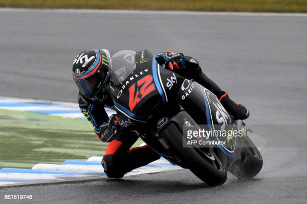Kalex rider Francesco Bagnaia of Italy powers his machine during the Moto2class of the MotoGP Japanese Grand Prix at Twin Ring Motegi circuit in...