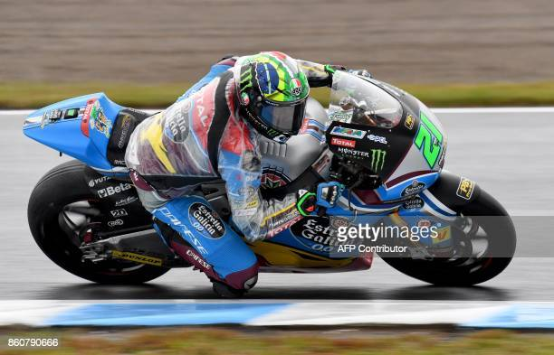 Kalex rider Franco Morbidelli of Italy powers his machine during the Moto2class second practice session of the MotoGP Japanese Grand Prix at Twin...