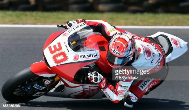 Kalex rider Takaaki Nakagami of Japan powers his machine during the Moto2 class first practice session of the Australian MotoGP Grand Prix at Phillip...