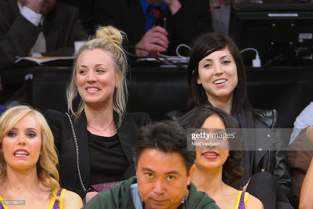 <a gi-track='captionPersonalityLinkClicked' href=/galleries/search?phrase=Kaley+Cuoco&family=editorial&specificpeople=208988 ng-click='$event.stopPropagation()'>Kaley Cuoco</a> (L) and her sister Briana Cuoco attend a basketball game between the Los Angeles Clippers and the Los Angeles Lakers at Staples Center on February 14, 2013 in Los Angeles, California.