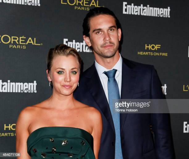 Kaley Cuoco and Ryan Sweeting attend Entertainment Weekly's PreEmmy party at Fig Olive Melrose Place on August 23 2014 in West Hollywood California
