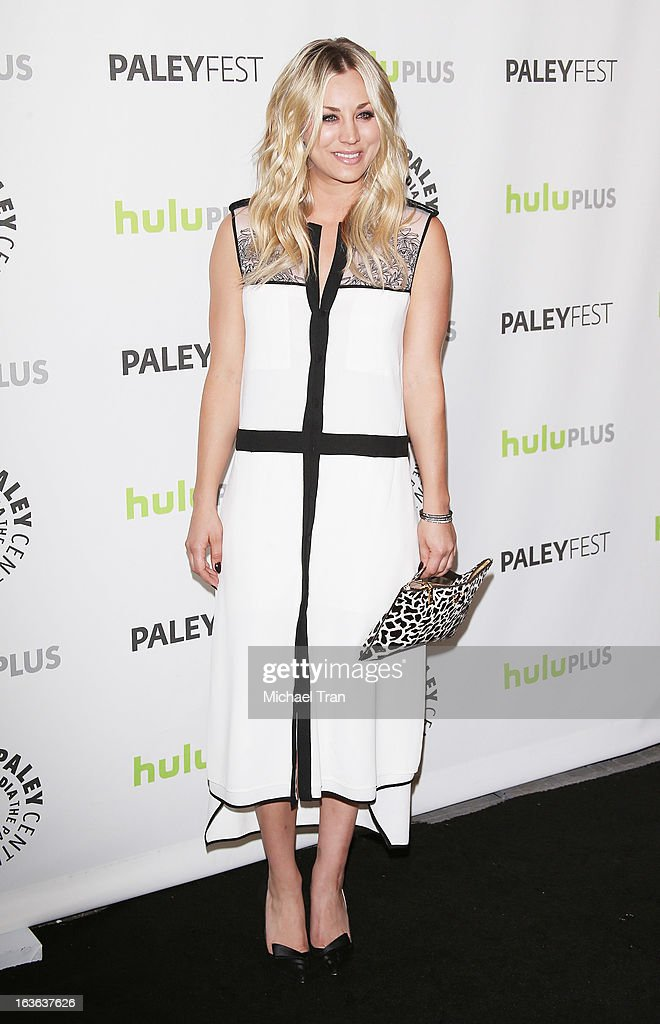 <a gi-track='captionPersonalityLinkClicked' href=/galleries/search?phrase=Kaley+Cuoco&family=editorial&specificpeople=208988 ng-click='$event.stopPropagation()'>Kaley Cuoco</a> arrives at the 30th Annual PaleyFest: The William S. Paley Television Festival - 'The Big Bang Theory' held at Saban Theatre on March 13, 2013 in Beverly Hills, California.