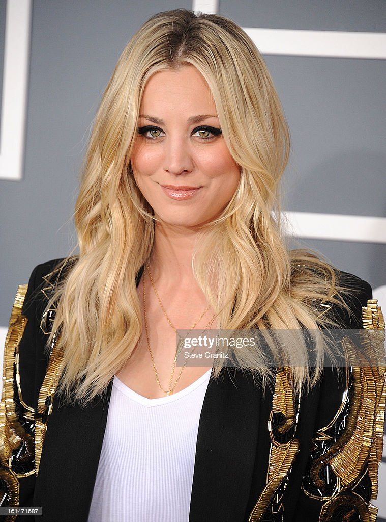 <a gi-track='captionPersonalityLinkClicked' href=/galleries/search?phrase=Kaley+Cuoco&family=editorial&specificpeople=208988 ng-click='$event.stopPropagation()'>Kaley Cuoco</a> arrives at the The 55th Annual GRAMMY Awards on February 10, 2013 in Los Angeles, California.
