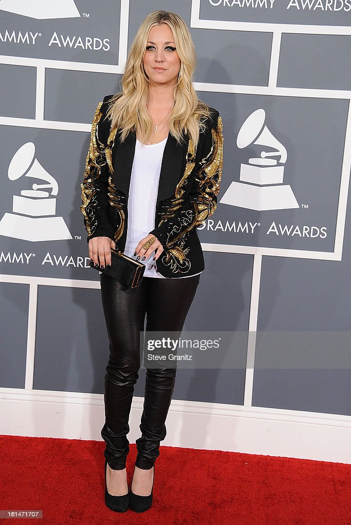 Kaley Cuoco arrives at the The 55th Annual GRAMMY Awards on February 10, 2013 in Los Angeles, California.