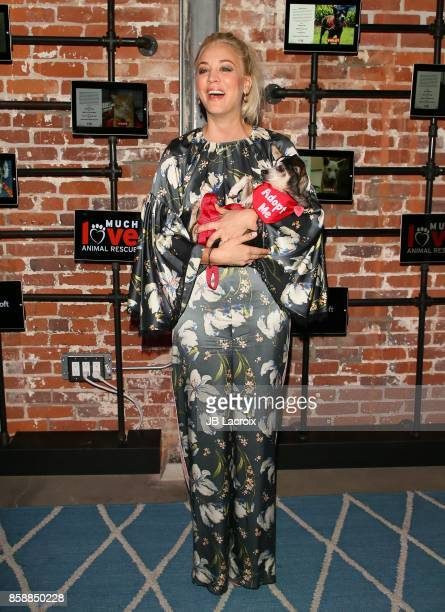 Kaley Cuoco attends the Much Love Animal Rescue celebrity fundraiser event on October 07 2017 in Venice California