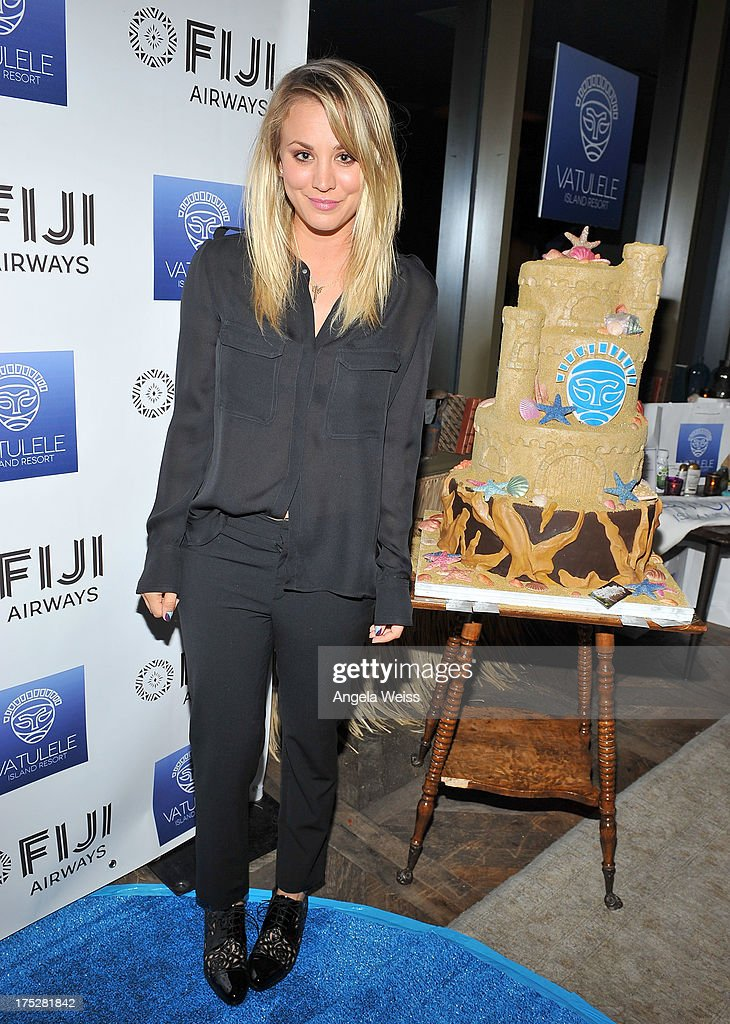 <a gi-track='captionPersonalityLinkClicked' href=/galleries/search?phrase=Kaley+Cuoco&family=editorial&specificpeople=208988 ng-click='$event.stopPropagation()'>Kaley Cuoco</a> attends the Vatulele Island Resort launch event in Los Angeles, California, on July 31, 2013 in Los Angeles, California.