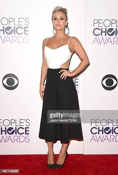 Kaley CuocoSweeting winner of the Favorite Comedic Actress award poses in the press room at The 41st Annual People's Choice Awards at Nokia Theatre...