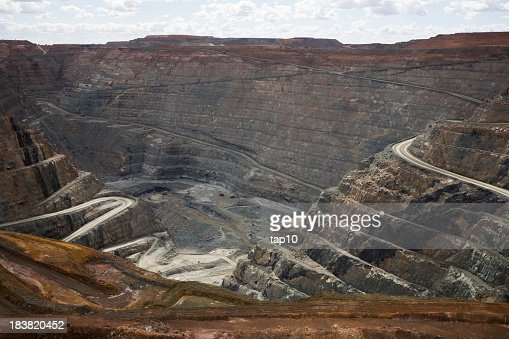 Kalgoorlie Super Pit with winding trails to the bottom