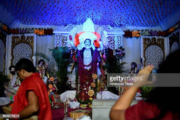 Kali puja celebration by Shilpashree Sangha Sarbojanin Kali Puja Committee on the occasion of Diwali at Sec9 Nerul on October 19 2017 in Mumbai India...