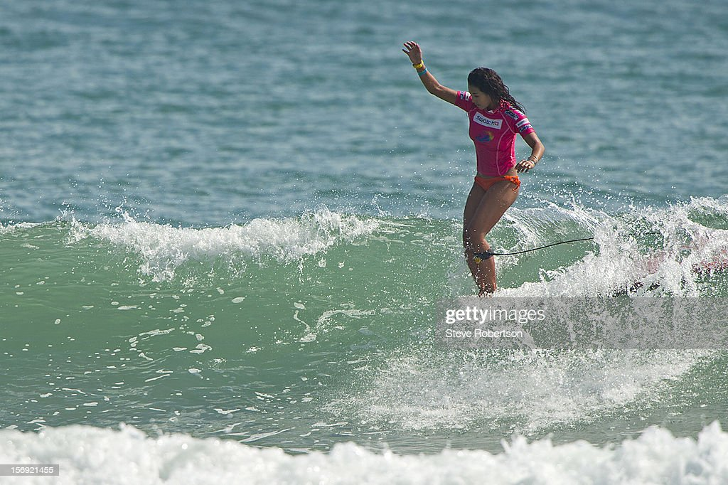 Kalia Moniz of Hawaii won the SWATCH Girls Pro China defeating Australian Chelsea Williams in a high scoring final. Moniz is also crowned ASO 2012 Women's World Longboard Champion. on November 25, 2012 in Hainan Island, China.