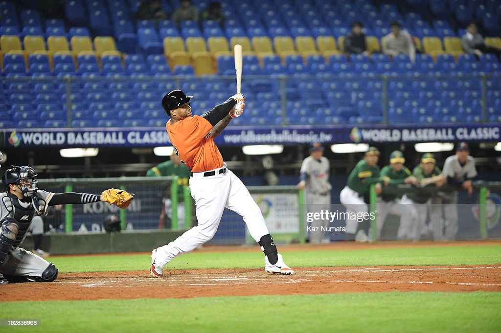 Kalian Sams #12 of Team Netherlands bats during the World Baseball Classic exhibition game against the Industrial All-Star Team at Intercontinental Stadium on Tuesday, February 26, 2013 in Taichung, Tawain.