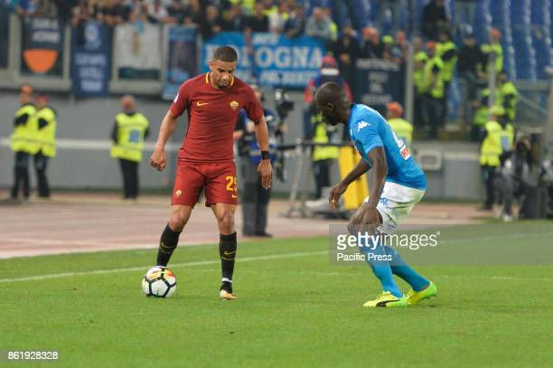 Kalidou Koulibaly and Bruno Peres during the Italian Serie A football match between AS Roma and SSC Napoli at the Olympic Stadium in Rome on october...