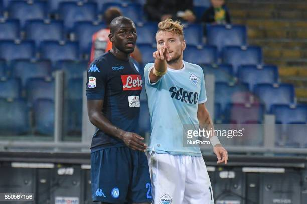 Kalidou Koulibaly and Ciro Immobile during the Italian Serie A football match SS Lazio vs SSC Napoli at the Olympic Stadium in Rome september on 21...