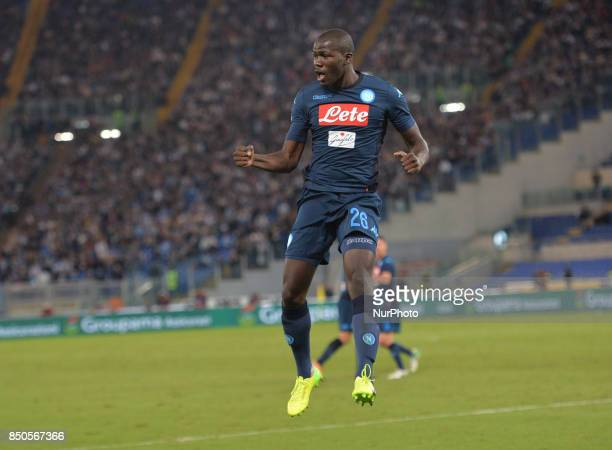 Kalidou Koulibaly celebrates after scoring a goal during the Italian Serie A football match SS Lazio vs SSC Napoli at the Olympic Stadium in Rome...