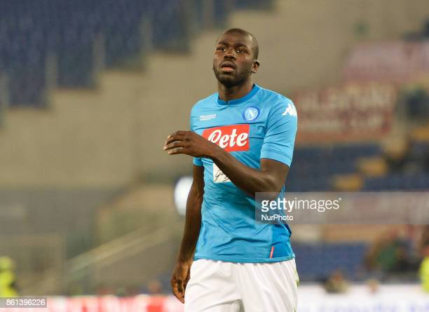 Kalidou Koulibaly during the Italian Serie A football match between AS Roma and SSC Napoli at the Olympic Stadium in Rome on october 14 2017