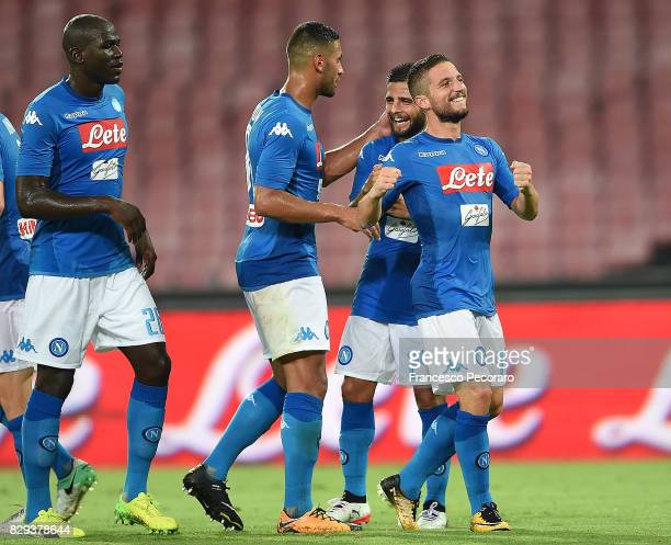Kalidou Koulibaly Faouzi Ghoulam Lorenzo Insigne and Dries Mertens of SSC Napoli celebrate the 10 goal scored by Dries Mertens during the preseason...
