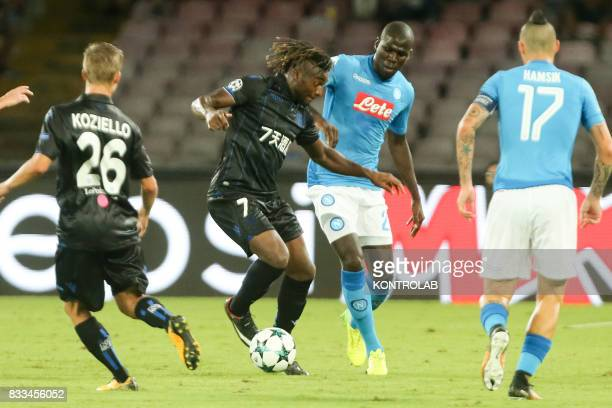 Kalidou Koulibaly Napoli defender and Allan SaintMaximin striker in Nice during the match between SSC Napoli and OGC Nice to qualify for the playoffs...